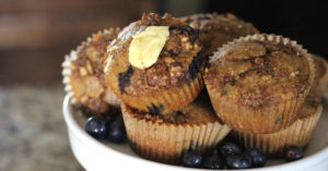 Grain-Free Blueberry Buttermilk Muffins with Streusel Topping | The Family That Heals Together