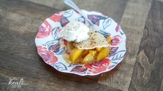 Paleo Gluten Free Peach Cobbler Recipe (Healthy Peach Cobbler!) | The Family That Heals Together
